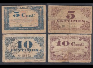 Frankreich - France Lille 5 + 10 Centimes 1917 Banknote F- (4-) (26759