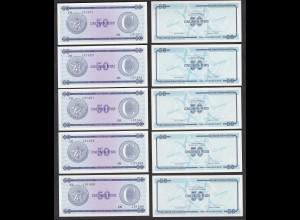 Kuba - Cuba 5 Stück á 50 Peso FEC 1985 Pick FX24 UNC (1) (89095