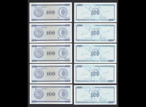 Kuba - Cuba 5 Stück á 100 Peso FEC 1985 Pick FX25 UNC (1) (89096