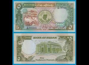 Sudan - 5 Pounds Banknote 1987 Pick 40a UNC (1) (18615