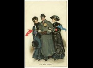 AK Litho 1913 Liebe Auswahl Wer wird siegen? Spannung Erotic (2839