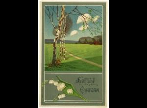 AK 1910 Glückwunsch Ostern Easter Kunst Maiglöckchen Prägedruck Embossed (2833