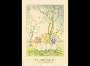 AK 1940 Glückwunsch Geburtstag Birthday Kinder Blumen Gold-Prägung (2831