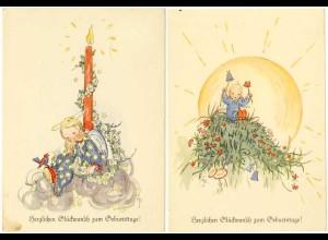 AK 1940 2 Stück Glückwunsch Geburtstag Birthday Kinder Blumen (2830