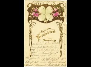 AK 1907 Glückwunsch Namenstag Goldprägedruck (2827