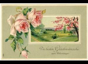 AK 1911 Glückwunsch Geburtstag Birthday tolle Karte Rosen Prägedruck (2816