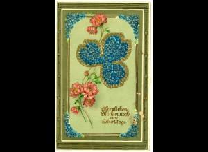 AK Glückwunsch Geburtstag Birthday Blumen Gold Glanzprägung (2787