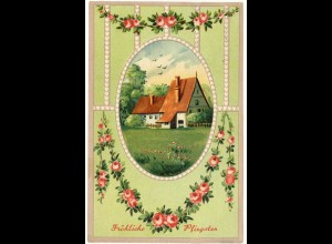 AK 1908 Glückwunsch Fröhliche Pfingsten Blumen Ramen-Prägedruck (2796