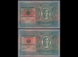 ÖSTERREICH - AUSTRIA 100 Kronen 1912 (1919) Pick 56 AU (1-) 26785
