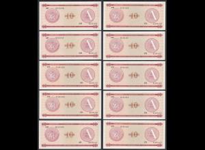 Kuba - Cuba 10 Stück á 10 Peso FEC 1985 Pick FX4 UNC (1) (89098