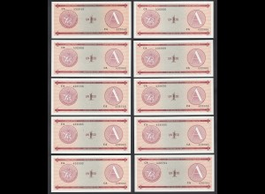 Kuba - Cuba 10 Stück á 1 Peso FEC 1985 Pick FX1 UNC (1) (89099