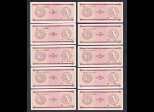 Kuba - Cuba 10 Stück á 3 Peso FEC 1985 Pick FX2 UNC (1) (89100