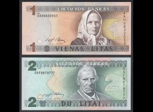 LITAUEN - LITHUANIA 1 + 2 Litas 1993/94 PICK 53/54 UNC (1) (26800
