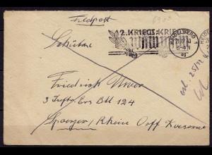 Feldpost-Brief 2.WK 1940 Heidellberg Stempel 2.Kriegs WHW an 3.Inf.Btl124 ( 6910