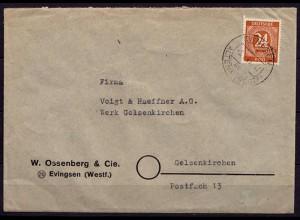 EVINGSEN üben ALTENA 1947 Bedarfsbrief EF 24 Pfg.Mi.925 n.Gelsenkirchen (6913