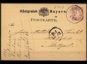 Bayernr 1883 Ganzsache 5 Pfg. Landau nach Stuttgart (6916
