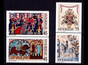 Schweden - Sweden 1973 Mi. 828-31 ** Volks-Malerei Painting (6957