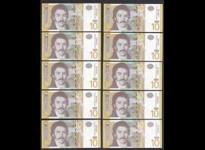 Serbien - Serbia 10 Stück á 10 Dinara Banknote Pick 46a UNC (1) (89102