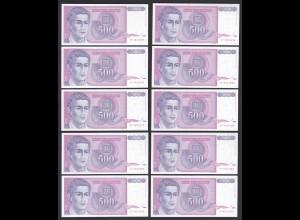 JUGOSLAWIEN - YUGOSLAVIA 10 Stück á 500 Dinara 1992 Pick 113 UNC (1) (89103