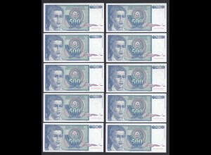 JUGOSLAWIEN - YUGOSLAVIA 10 Stück á 500 Dinara 1990 Pick 106 UNC (1) (89104