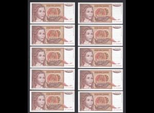 JUGOSLAWIEN - YUGOSLAVIA 10 Stück á 10000 Dinara 1992 Pick 116a UNC (1) (89107