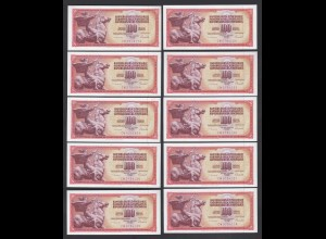 JUGOSLAWIEN - YUGOSLAVIA 10 Stück á 100 Dinara 1986 Pick 90c UNC (1) (89108
