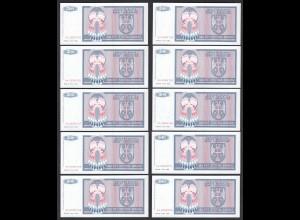 BOSNIA - HERZEGOVINA - 10 Stück á 500 Dinara 1992 Pick 136 UNC (1) (89109