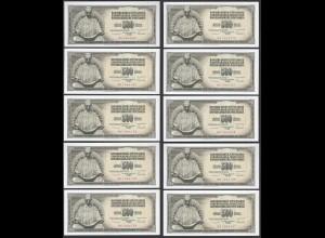 JUGOSLAWIEN - YUGOSLAVIA 10 Stück á 500 Dinara 1986 Pick 91c UNC (1) (89111