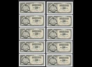 JUGOSLAWIEN - YUGOSLAVIA 10 Stück á 500 Dinara 1981 Pick 91b UNC (1) (89112