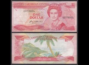 EASTERN CARIBBEAN $1 Dollars (1985-88) Pick 21I Surfix L VF (3) (26818