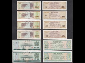 China - 6 Stück 0,10 + 1 Yuan Foreign Exchange Certificates VF/XF (26819