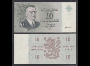 FINNLAND - FINLAND 10 MARKKA 1963 PICK 104a VF+ (3+) Serie L (26831