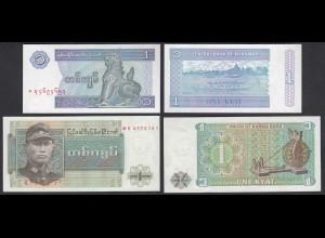 Burma - Myanmar 2 Stück Banknoten UNC (1) siehe Fotos (26890