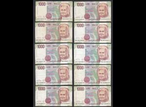 Italien - Italy 10 Stück á 1000 Lire Banknote 1990 Pick 114 F/VF (3/4) (26896