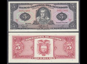 Ecuador 5 Sucres Banknote 22.11.1988 Pick 113d UNC (1) (26966