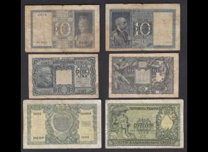 Italien - Italy 10,10,50 Lire 1935,1944,1951 Pick 25,32,91 gebraucht (26969