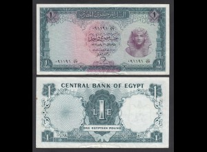 Ägypten - Egypt 1 Pound 1966 Pick 37a F+ (4+) (26973