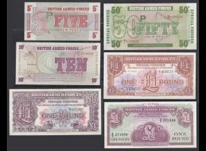 6 Stück UK - British Armed Forces 5,10,50 Pence 1,1,1 Pound aUNC (1-) (26978