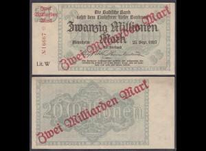 Baden Mannheim 2 Milliarden Mark 1923 Lit. W Überdruck Starnote (26991
