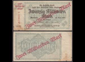 Baden Mannheim 2 Milliarden Mark 1923 Lit. Q Überdruck Starnote (26992