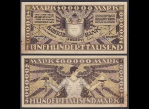 Baden 500.000 500000 Mark 1923 Länderbanknote Ro BAD10 Serie J (26996