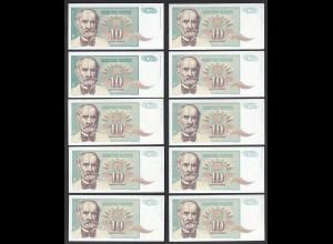 JUGOSLAWIEN - YUGOSLAVIA 10 Stück á 10 Dinara 1994 Pick 138 UNC (1) (89118