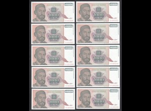 JUGOSLAWIEN - YUGOSLAVIA 10 Stück á 1000 Dinara 1994 Pick 140 UNC (1) (89120
