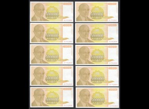 JUGOSLAWIEN - YUGOSLAVIA 10 Stück á 500000 Dinara 1994 Pick 143 UNC (1) (89122