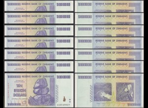 SIMBABWE - ZIMBABWE 7 Stück á 10 Billion Dollars 2008 Pick 85 aUNC (1-) (27025