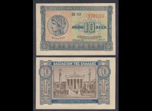 Griechenland - Greece Königreich 10 Drachma 1940 Pick 314 XF (2) 27051