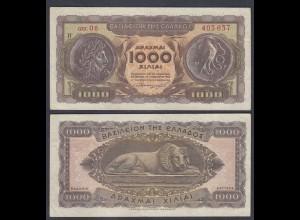 Griechenland - Greece Königreich 1000 Drachmai 1953 Pick 326b VF (3) 27054