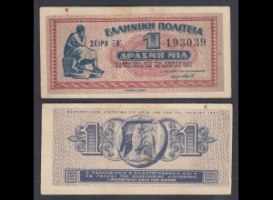 Griechenland - Greece Königreich 1 Drachmai 1941 Pick 317 VF (3) 27058