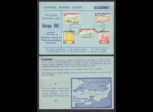 ALDERNEY ISLANDS (Guernsey) 1962 EUROPA overprint Card set of 5 nice (27100