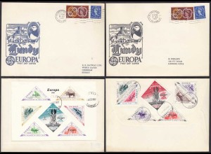 UK Great Britain Lundy Island Europa 1961 2 Briefe set and S/Sheet RAR (27097